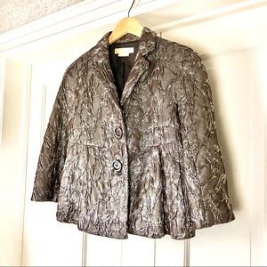 Michael Kors silk wool metallic taupe jacket